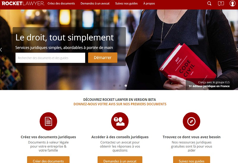 rocket lawyer france legaltech document juridique